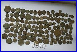 LOT OF 125 UNCLEANED ANCIENT ROMAN IMPERIAL BRONZE COINS III-V Century AD