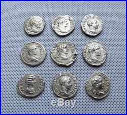 LOT of 9 Ancient Roman Silver Denarius Coins