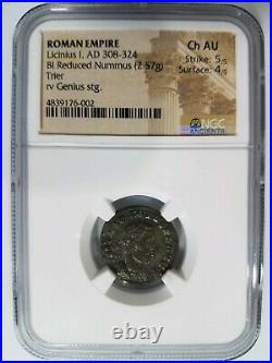 Licinius I Roman Empire BI Billon Nummus NGC Ch AU Ancient Trier Genius Coin
