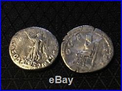 Lot Of 2 Ancient Roman Silver Coins Denarius Of Trajan(98-117)&Hadrian(117-138)