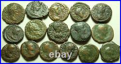 Lot of 16 Rare original ancient Roman Greek Provincial coins urn snake crescent