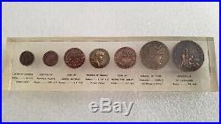 Lot of 7 Ancient Jesus Roman Coins Herod Pilate Tiberius Lepton Denarius Silver
