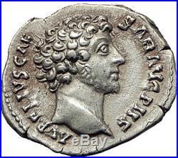 MARCUS AURELIUS 144AD Rome Authentic Ancient Silver Roman Coin HONOS i65251