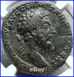 MARCUS AURELIUS 177AD Victory v Germany SESTERTIUS Ancient Roman Coin NGC i68612