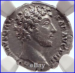 MARCUS AURELIUS Caesar Authentic Ancient 146AD Silver Roman Coin SPES NGC i71708