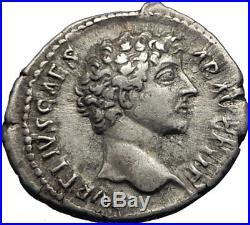 MARCUS AURELIUS as Caesar 147AD Rome Ancient Silver Roman Coin MINERVA i71734
