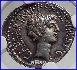 MARK ANTONY & Augustus as TRIUMVIRS 41BC Ancient Silver Roman Coin NGC AU