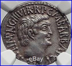 MARK ANTONY & Augustus as TRIUMVIRS 41BC Ancient Silver Roman Coin RARE NGC AU
