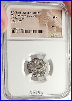 MARK ANTONY Cleopatra Lover 32BC Ancient Silver Roman Coin LEGION II NGC i67618