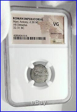 MARK ANTONY Cleopatra Lover 32BC Ancient Silver Roman Coin LEGION XX NGC i80134