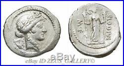 MARK ANTONY Cleopatra OCTAVIAN age42BC Apollo Ancient Roman Silver Denarius Coin