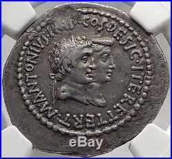 MARK ANTONY & OCTAVIA Augustus Sister SILVER Tetradrachm Ancient Roman Coin NGC