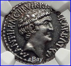 MARK ANTONY & Octavian -TRIUMVIRS 41BC Ancient Roman Silver Coin NGC AU 5/5 5/5