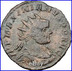MAXIMIAN 285AD Ancient Roman Coin Nude Jupiter Zeus w thunderbolt i32243