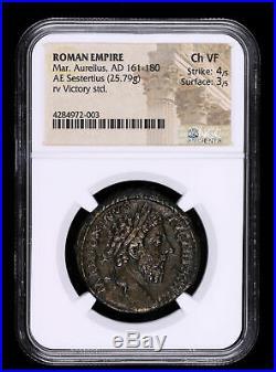 Marcus Aurelius 161 180 Ad Sestertius Ancient Roman Empire Coin Victory Sea
