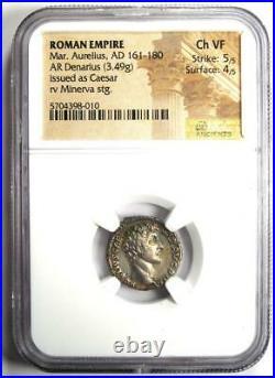 Marcus Aurelius AR Denarius Silver Roman Coin 161-80 AD. Certified NGC Choice VF