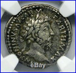 Marcus Aurelius. Certified Denarius. Roman Ancient Coin NGC VF Silver Toned