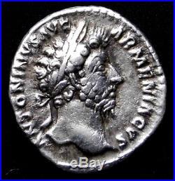 Marcus Aurelius. Denarius. Father to Commodus. Ancient Roman Silver Coin
