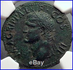 Marcus Vipsanius Agrippa Augustus General Ancient Roman Coin by CALIGULA NGC AU