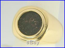 Men's 18K Yellow Gold Ancient Roman Empire 337-350 d. C Coin Ring 13.5 grams