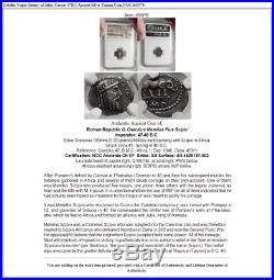 Metellus Scipio Enemy of Julius Caesar 47BC Ancient Silver Roman Coin NGC i60978