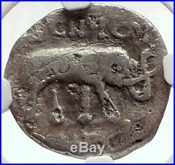 Metellus Scipio Enemy of Julius Caesar 47BC Ancient Silver Roman Coin NGC i68128