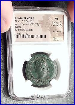NERO 65AD Dupondius MACELLUM MAGNUM Market Genuine Ancient Roman Coin NGC i66638