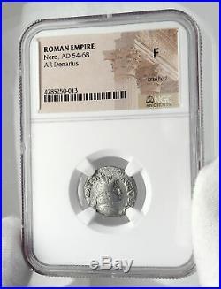 NERO Authentic Ancient 64AD Rome Genuine Silver Denarius Roman Coin NGC i80516