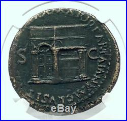NERO Authentic Ancient ROME Sestertius 65AD Roman Coin w JANUS TEMPLE NGC i78890