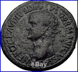 NERO CLAUDIUS DRUSUS 50AD Rome SESTERTIUS Authentic Ancient Roman Coin i60690