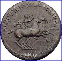 NERO & DRUSUS CAESARS, Rome 39AD Authentic Ancient Roman Coin Superb Very Rare