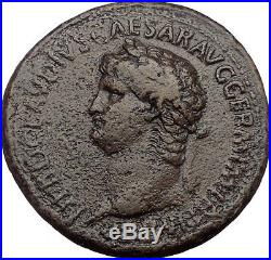 NERO Rome 63 AD. Authentic Ancient Roman Bronze Coin. Left Portrait Very Rare