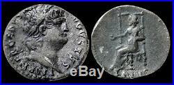NERO Silver Denarius 54 68 AD. Ancient Roman Coin Emperor NERO / Jupiter