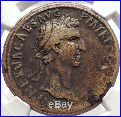 NERVA Genuine 97AD SESTERTIUS Authentic Ancient Roman Coin FORTUNA NGC i69325