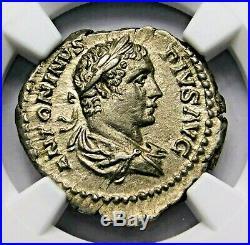NGC AU. Caracalla. Stunning Denarius. Brother of Geta. Ancient Roman Silver Coin