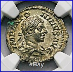 NGC AU. Elagabalus. Outstanding Denarius. Ancient Roman Silver Coin