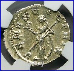 NGC AU. Gordian III. Stunning Denarius. Ancient Roman Silver Coin