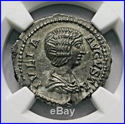 NGC AU Julia Domna. Stunning Denarius. Mother of Caracalla. Roman Silver Coin