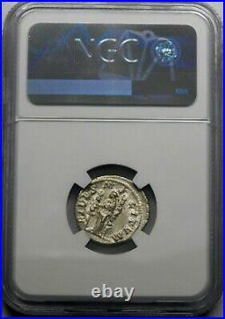 NGC AU. Maximinus I (235-238 AD) Exquisite Denarius. Ancient Roman Silver Coin
