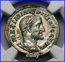 NGC AU. Maximinus I. Exquisite Denarius. Ancient Roman Silver Coin
