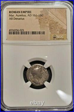 NGC AUTHENTICATED ROMAN EMPIRE MARCUS AURELIUS DENARIUS 161-180 ce detailed coin