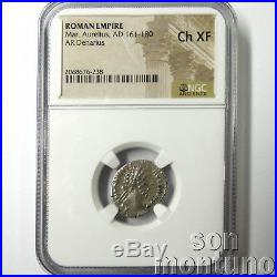 NGC CHOICE XF Marcus Aurelius Ancient Roman Silver AR Denarius Coin 161-181 AD