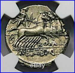 NGC Ch AU 4/5-2/5 Baebius Qf Tampilus Denarius 137 BC Roman Republic Silver Coin