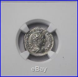 NGC Ch AU 4/5-5/5. Elagabalus. Superb Rare Denarius. Ancient Roman Silver Coin