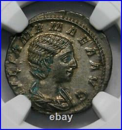 NGC Ch AU Julia Mamaea Denarius Mother & Regent of S Alexander Roman Silver Coin