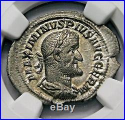 NGC Ch AU. Maximinus I. Exquisite Denarius. Ancient Roman Silver Coin
