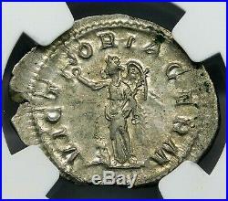 NGC Ch AU. Maximinus I. Outstanding Denarius. Ancient Roman Silver Coin