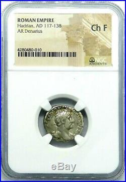 NGC Ch F. Hadrian AD. 117-138 Ancient Roman, Excellent Denarius Silver Coin