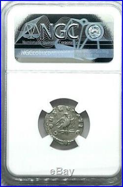 NGC Ch VF. Marcus Aurelius 180 AD. Rare Silver Toned Denarius Ancient Roman Coin