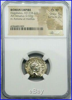 NGC Ch XF 5/5-2/5. Elagabalus. Outstanding Denarius. Ancient Roman Silver Coin